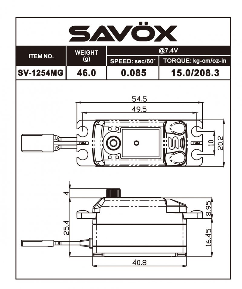 Image 3 of Savox 1254MG High Voltage Coreless Low Profile Digital Servo 0.085sec / 208