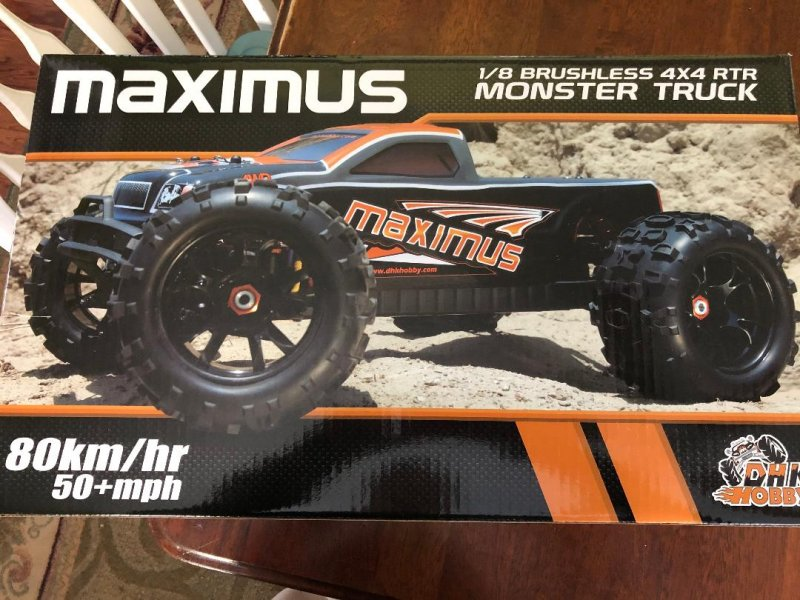 Image 0 of Maximus 1/8 4WD Brushless Monster Truck, Ready To Run, No Battery or Charger