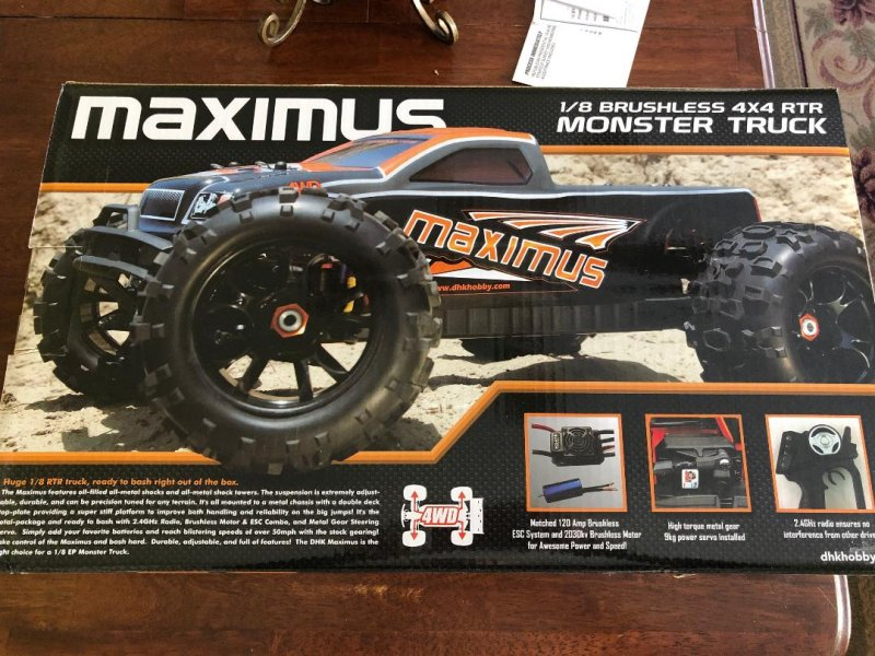Image 1 of Maximus 1/8 4WD Brushless Monster Truck, Ready To Run, No Battery or Charger