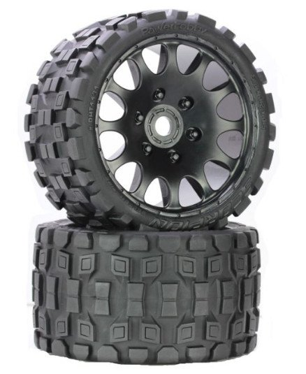 Image 1 of Scorpion Belted Monster Truck Wheels/Tires (pr.), Pre-mounted, Sport Medium Comp