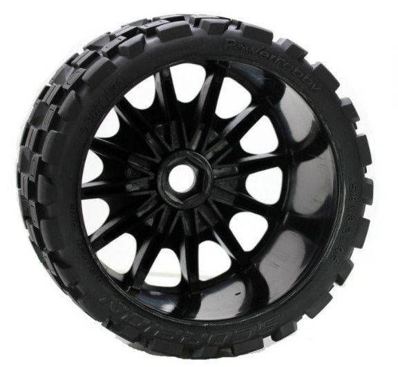 Image 3 of Scorpion Belted Monster Truck Wheels/Tires (pr.), Pre-mounted, Sport Medium Comp