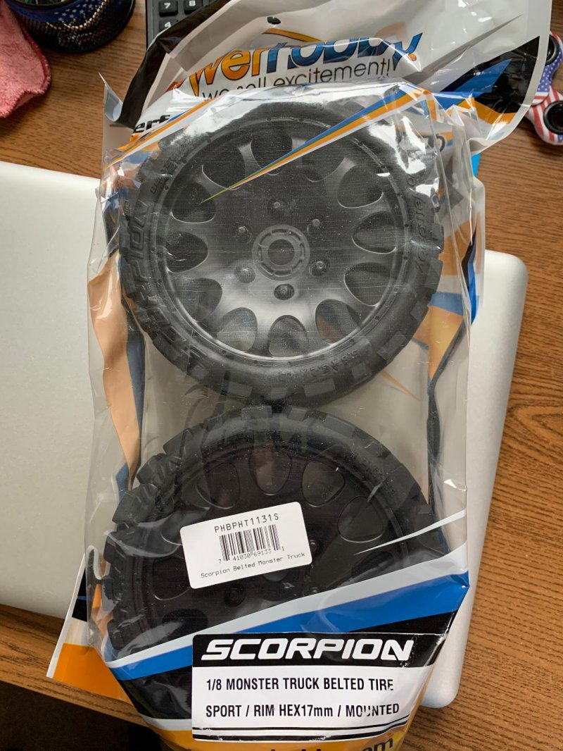 Image 0 of Scorpion Belted Monster Truck Wheels/Tires (pr.), Pre-mounted, Sport Medium Comp
