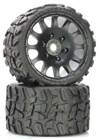 Image 1 of Raptor Belted Monster Truck Wheels/Tires (pr.), Pre-mounted, Sport Medium Compou