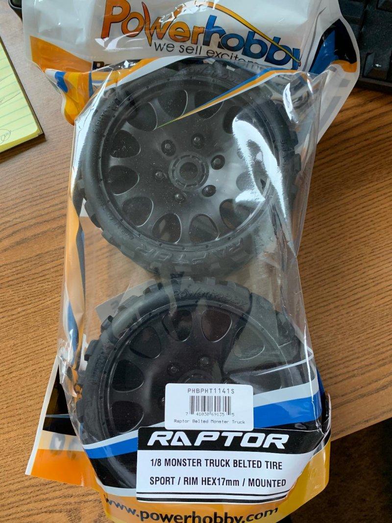 Image 0 of Raptor Belted Monster Truck Wheels/Tires (pr.), Pre-mounted, Sport Medium Compou
