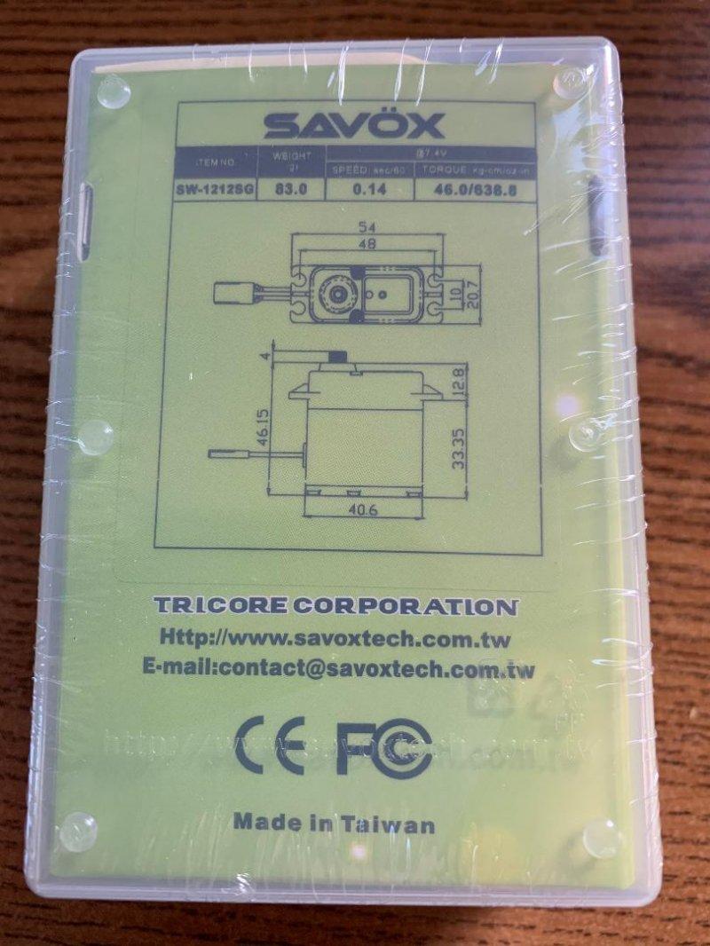 Image 1 of Savox 1212SG Waterproof, High Torque, HV Coreless Digital, 0.14 sec / 638oz