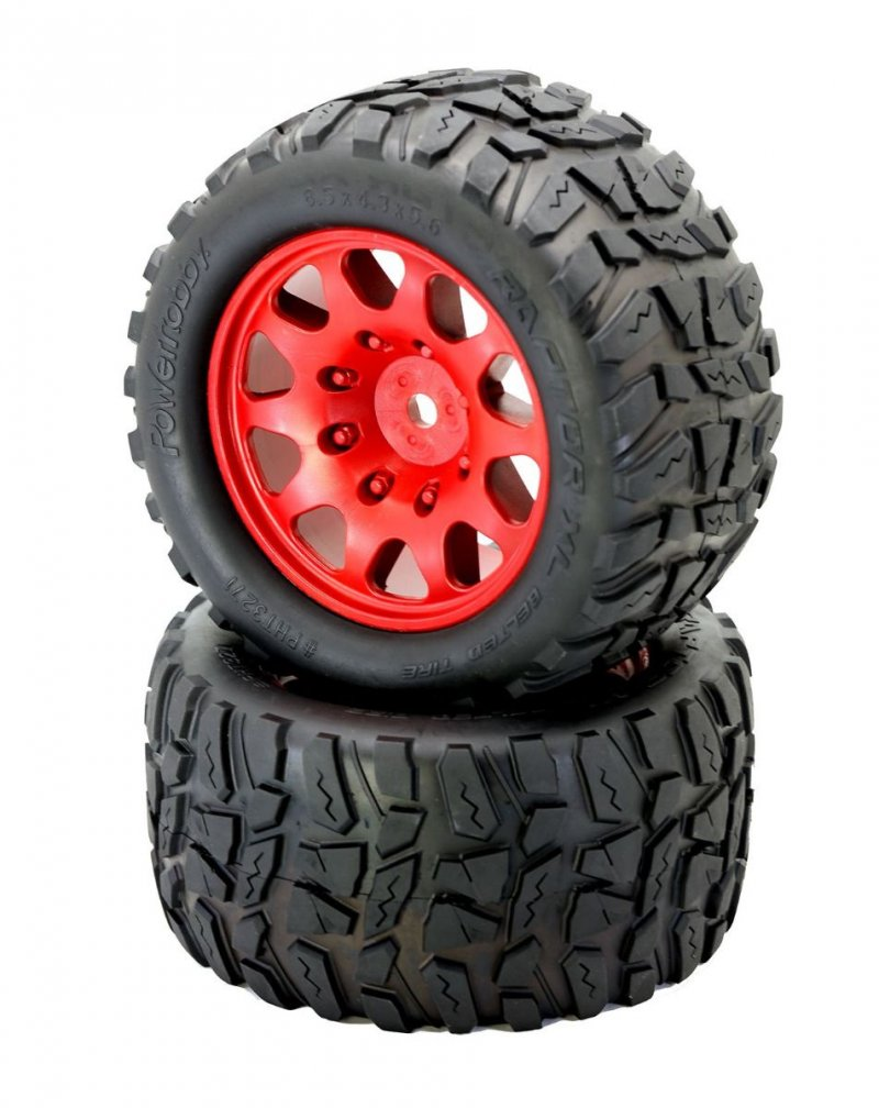 Image 2 of Powerhobby Raptor XL Belted Tires / Viper Wheels (2) Traxxas X-M PHBPHT3271RED
