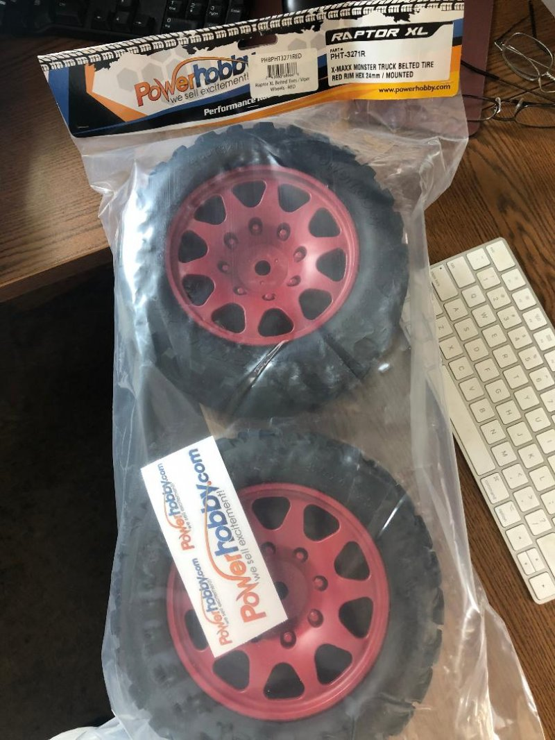 Image 0 of Powerhobby Raptor XL Belted Tires / Viper Wheels (2) Traxxas X-M PHBPHT3271RED
