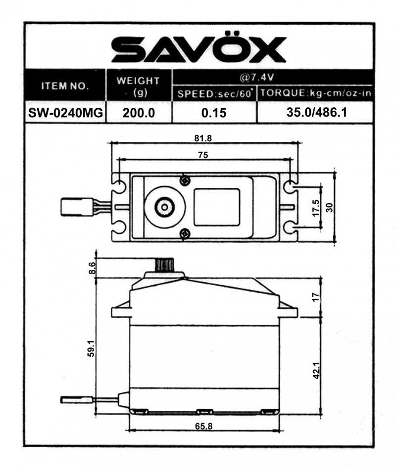 Image 4 of Savox SW-0240MG Waterproof 1/5 Scale High Voltage Digital Servo 0.15sec / 486oz