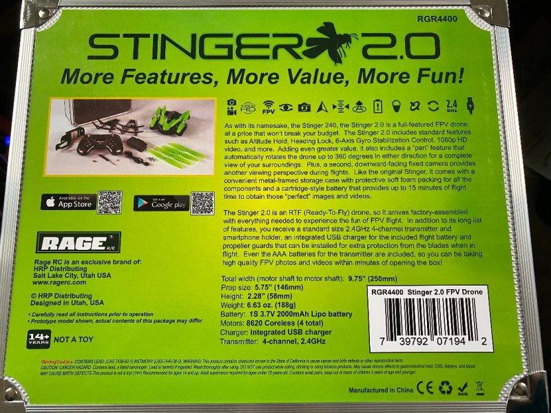 Image 1 of Rage Stinger 2.0 RTF WiFi FPV Drone w/1080p HD Camera