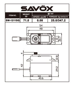Image 1 of Savox SAVSW1211SG-BE Waterproof High Voltage Digital Servo 0.08sec / 347.2oz