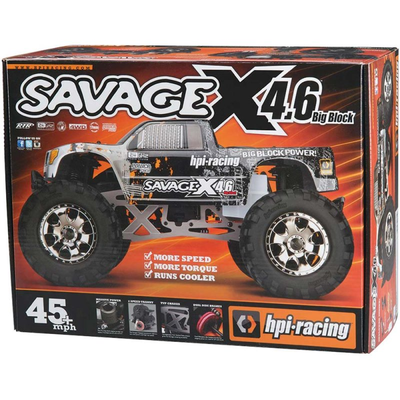 Image 0 of HPI SAVAGE X 4.6 Big Block RTR, Nitro Powered Monster Truck, 1/8 Scale, 4X4, w/