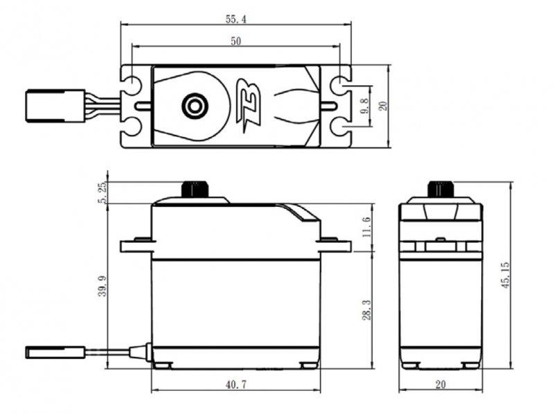 Image 4 of Savox SAVB12KG Budget Analog Servo, .23/ 167oz-in @6v, Standard Size, Metal Gear
