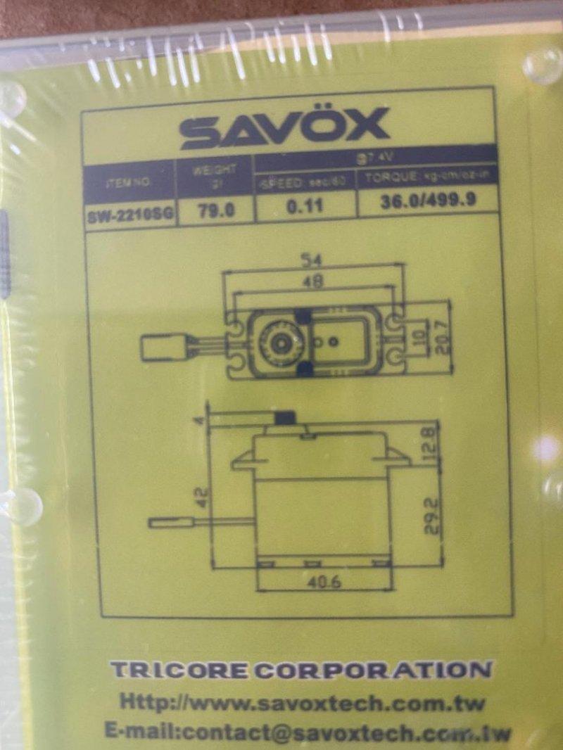 Image 1 of Savox 2210SG-BE Waterproof Premium, HV, Brushless, Digital Servo 0.11 /500oz