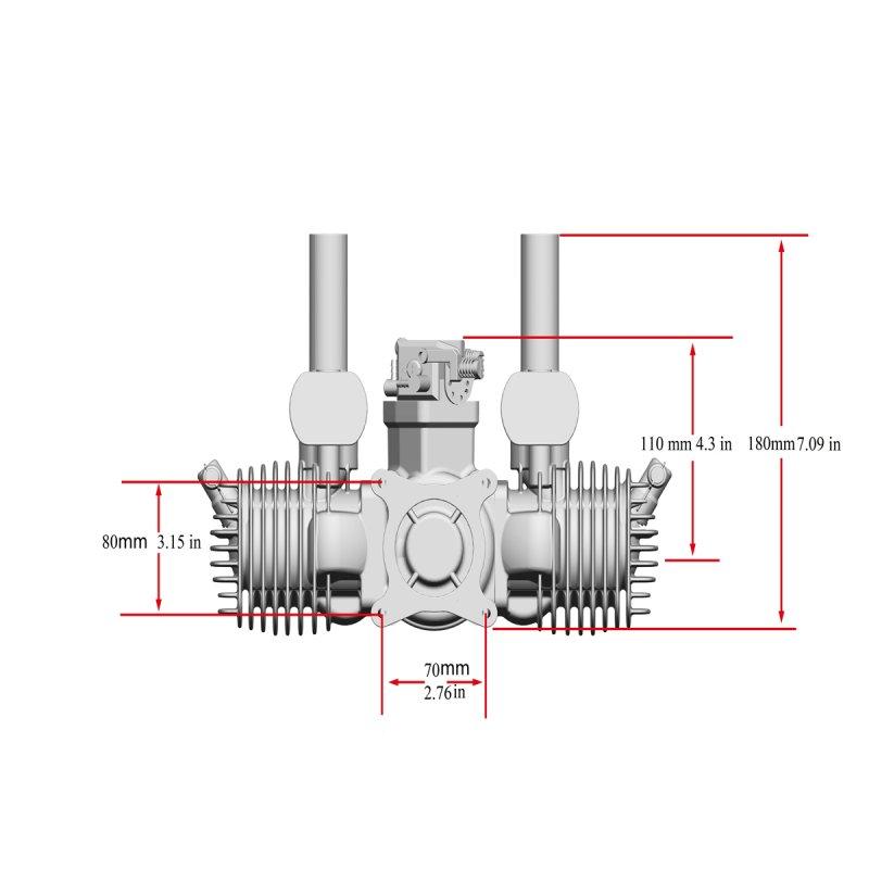 Image 4 of RCGF Stinger 125cc TWIN Gasoline model aircraft engine
