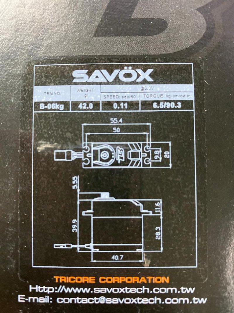 Image 1 of Savox Budget Analog Servo, .11/90oz-in (6kg-cm) @6v, Standard Size, Plastic Gear