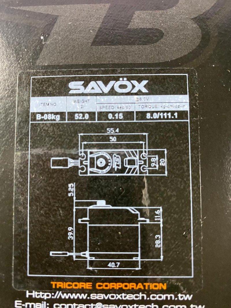 Image 1 of Savox Budget Analog Servo, .15 / 111on-in (8kg-cm) @6v, Standard Size, Metal Gea