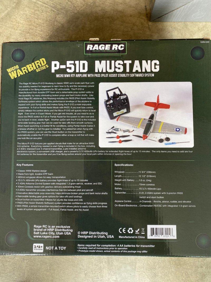 Image 1 of RAGE P-51D Mustang Micro RTF Airplane w/PASS