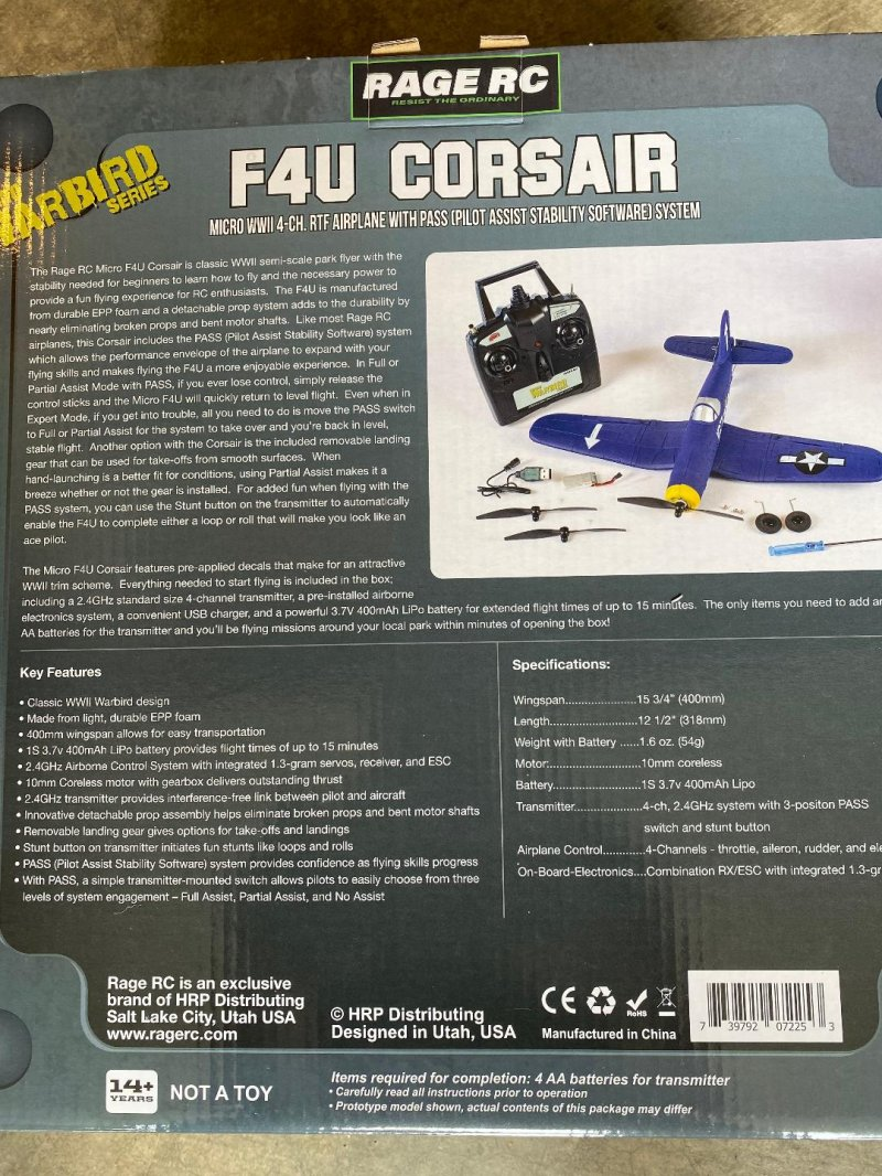 Image 1 of RAGE F4U Corsair Micro RTF Airplane w/PASS