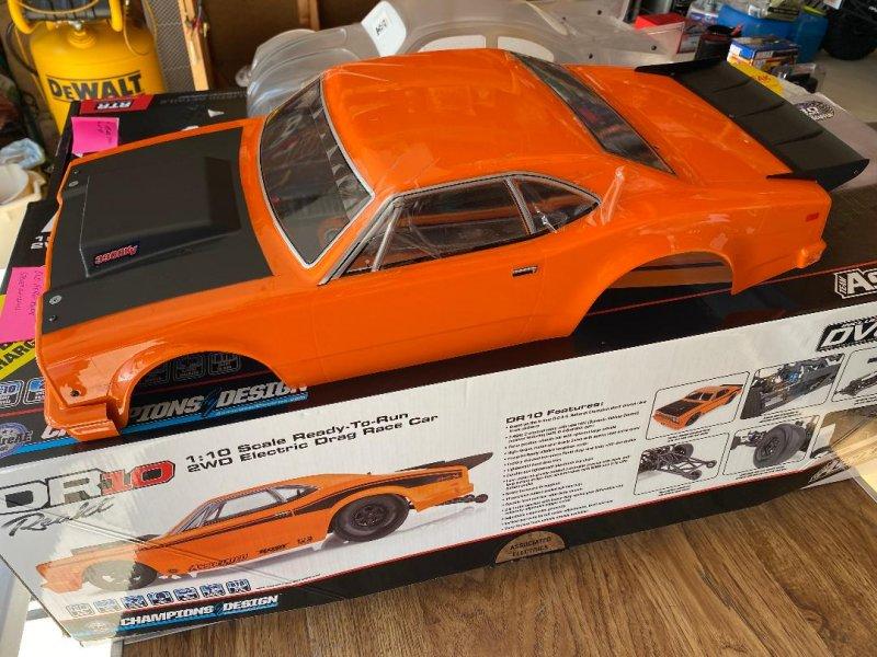 Image 6 of DR10 Drag Race Car, 1/10 Brushless 2WD RTR, Orange w/extra bodies