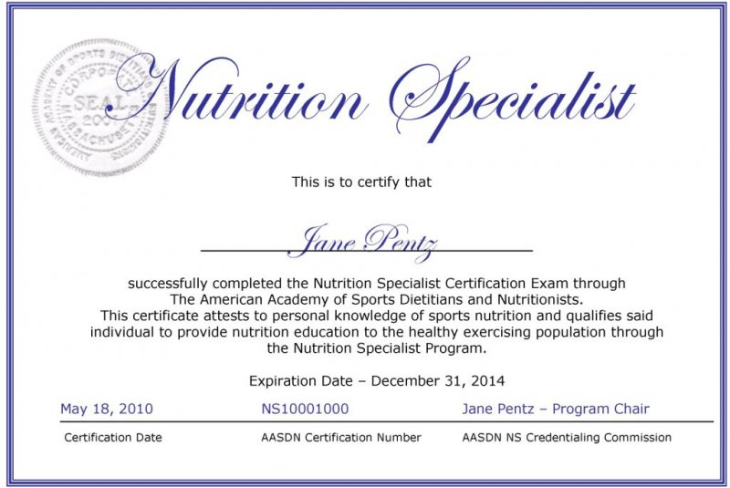 certificate nutrition specialist