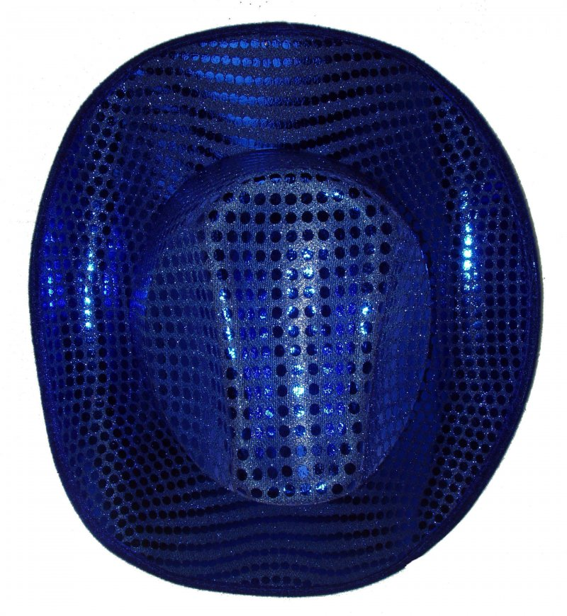 Image 0 of Sequin Fabric Cowboy Hat Royal Blue