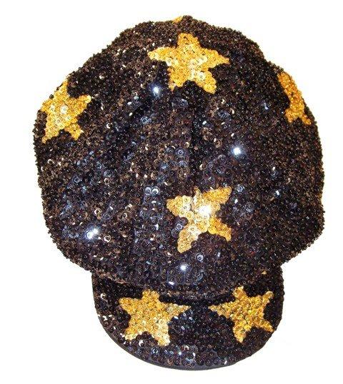 Image 0 of Sequin Brando Cap Black w/Gold Stars (HAT03)