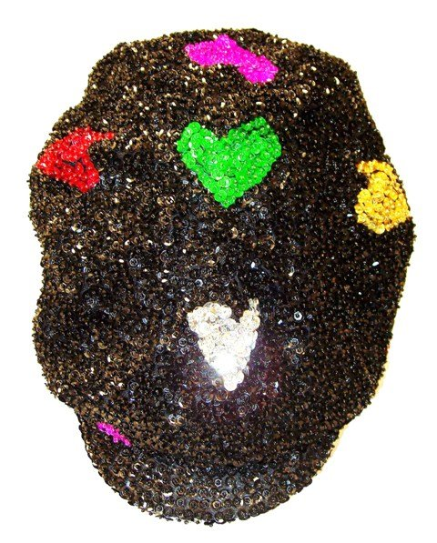 Image 0 of Sequin Brando Cap Black w/Color Hearts (HAT03)