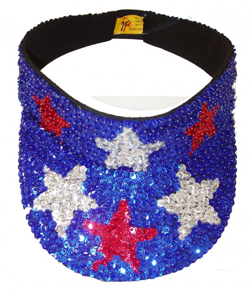 Image 0 of Sequin Sun Visor Blue Red Stars USA Flag American Patriotic