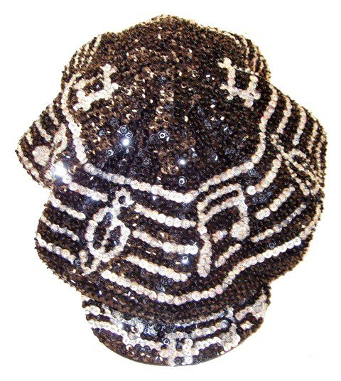 Image 0 of Sequin Brando Cap Black w/Silver Music Notes On Bar (HAT03)