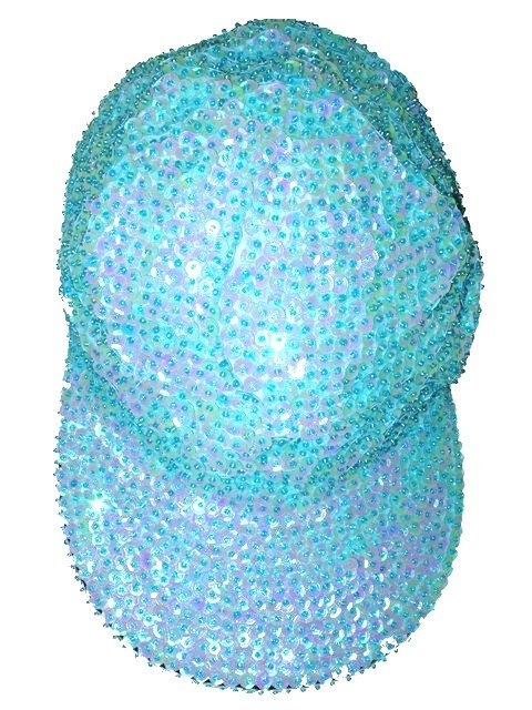 Image 0 of Sequin Baseball Cap Opal Turquoise