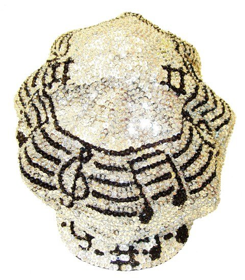Image 0 of Sequin Brando Cap Silver w/Black Music Notes On Bar (HAT03)