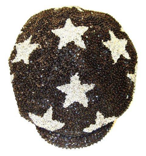 Image 0 of Sequin Brando Cap Black w/Silver Stars (HAT03)