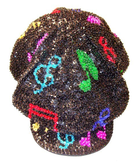 Image 0 of Sequin Brando Cap Black w/Color Music Notes (HAT03)