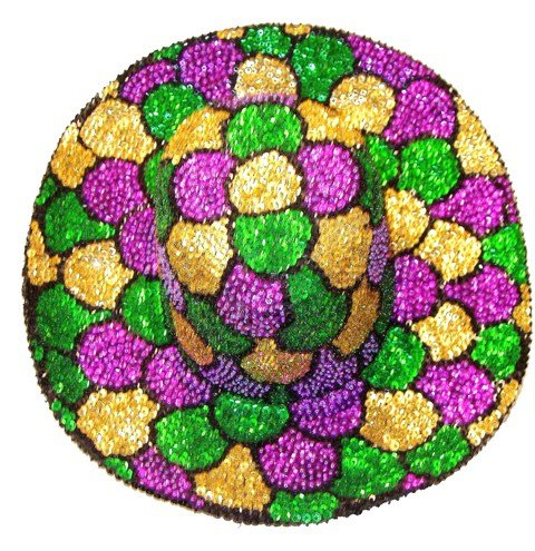 Image 0 of Sequin Cowboy Cowgirl Hat Multicolor MARDI GRAS MOSAIC Shells