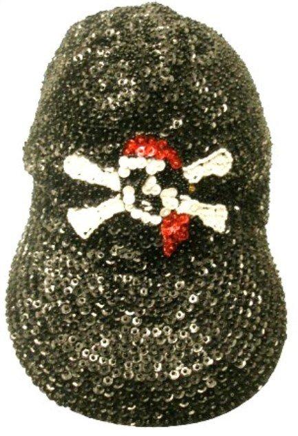 Image 0 of Sequin Baseball Cap Black w/Red Bandana Pirate