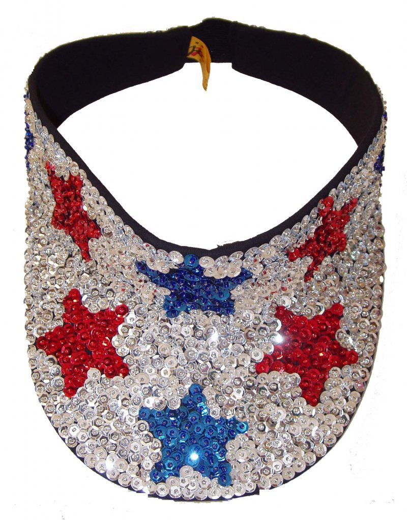 Image 0 of Sequin Sun Visor USA Flag Red Blue Stars American Pride