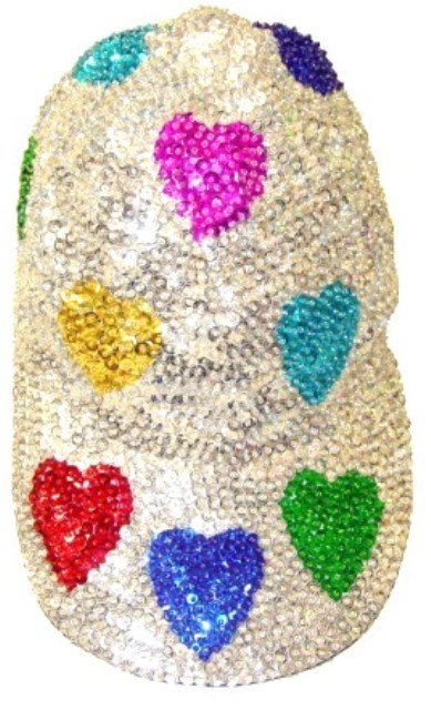 Image 0 of Sequin Baseball Cap Silver w/Colored Hearts