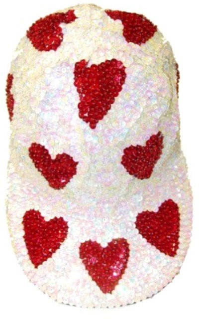 Image 0 of Sequin Baseball Cap Opal White w/Red Hearts