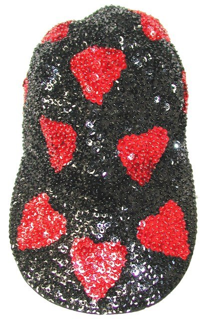 Image 0 of Sequin Baseball Cap Black w/Red Hearts