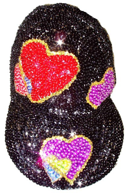Image 0 of Sequin Baseball Cap w/Multi Hearts