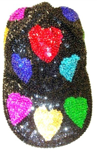 Image 0 of Sequin Baseball Cap Black w/Color Hearts (115pcs Box)