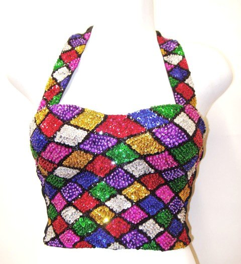 Image 0 of Sequin Bustier Mosaic Square