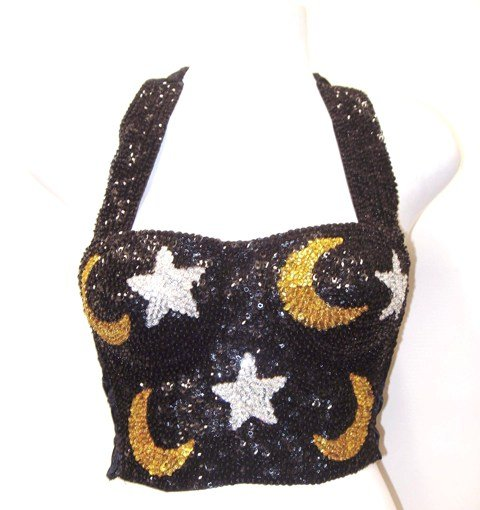 Image 0 of Sequin Bustier Celestial Black