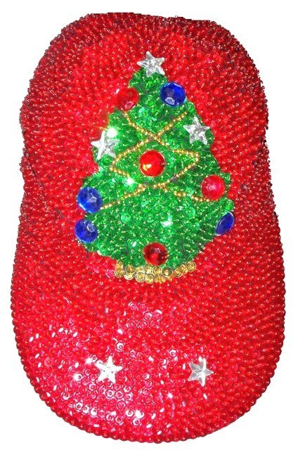 Image 0 of Sequin Baseball Cap Red w/Christmas Tree