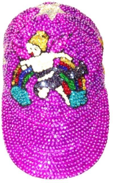 Image 0 of Sequin Baseball Cap Purple Angel