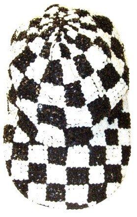 Image 0 of Sequin Baseball Cap Black/White Checkered