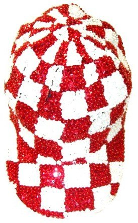Image 0 of Sequin Baseball Cap Red/White Checkered
