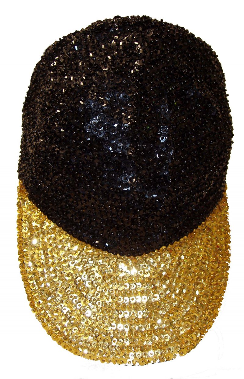 Image 0 of Sequin Baseball Cap Black/Gold