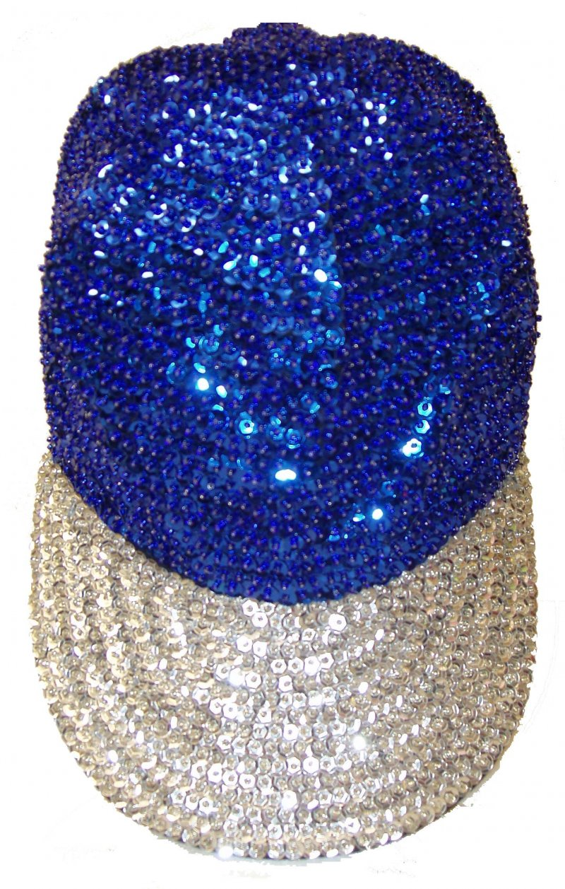 Image 0 of Sequin Baseball Cap Blue/Silver