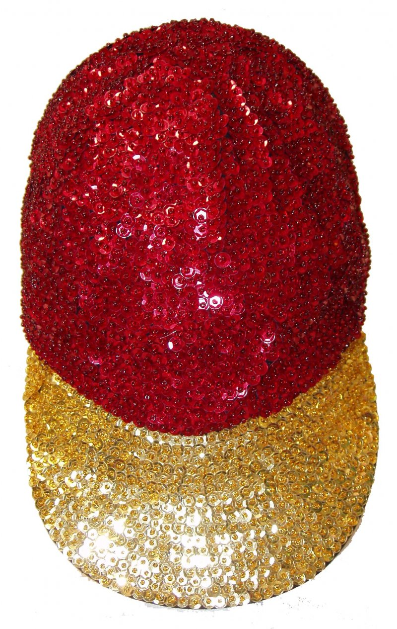 Image 0 of Sequin Baseball Cap Red/Gold